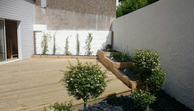 terrasse jardinière pin papyrus paysage