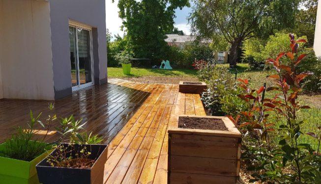 terrasse Pin+ banc + jardinières papyrus